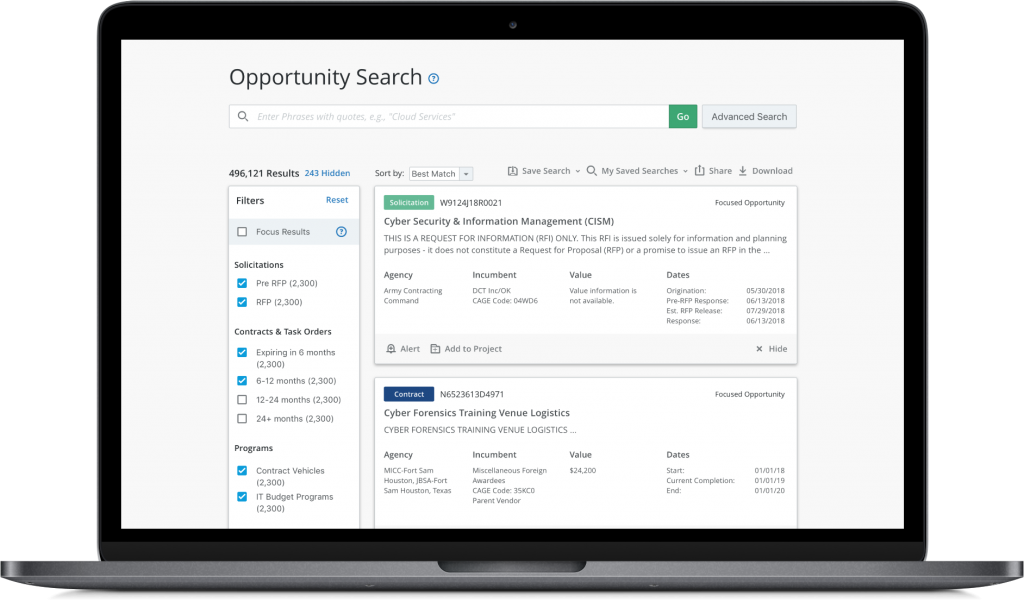 Bloomberg Government Opportunity Search
