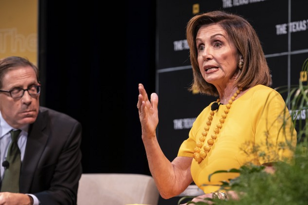 Pelosi speaks with Texas Tribune CEO, Evan Smith during a panel at The Texas Tribune Festival on Saturday.