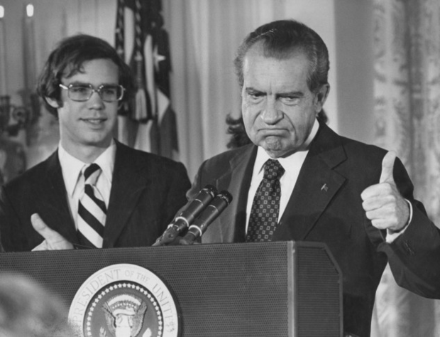 President Richard Nixon addresses White House staff upon his resignation on Aug. 9, 1974. His son-in-law David Eisenhower is with him.