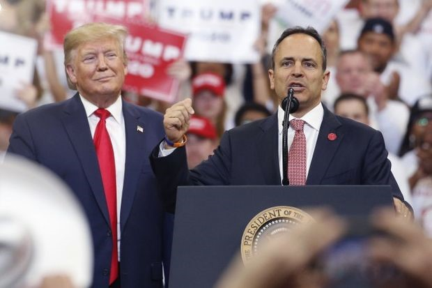 Bevin speaks during a rally with Trump in Lexington on Monday - Luke Sharrett/Bloomberg