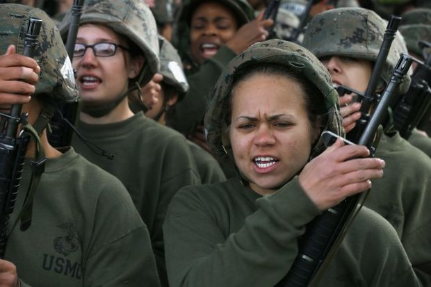Female Marine recruits attend boot camp at Parris Island in South Carolina - (Photo by Scott Olson/Getty Images)
