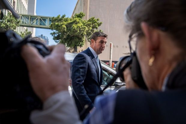 Rep. Duncan Hunter arrives at federal court in San Diego on July 1 - Ariana Drehsler/Bloomberg via Getty Images