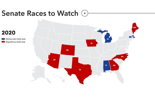 2020 Senate races to watch map