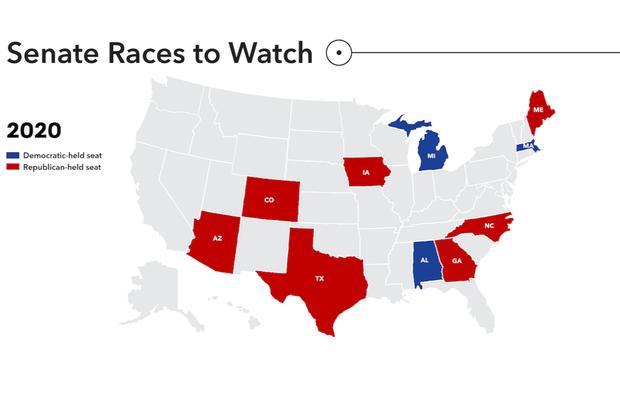 2020 Senate races to watch map