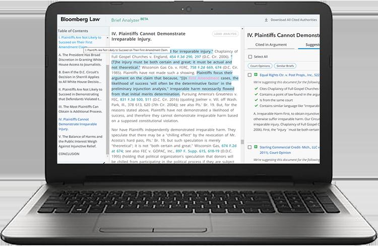 Brief analyzer forward-facing laptop view