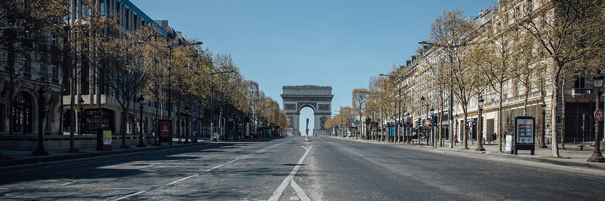 Empty Champs Elysees in Paris