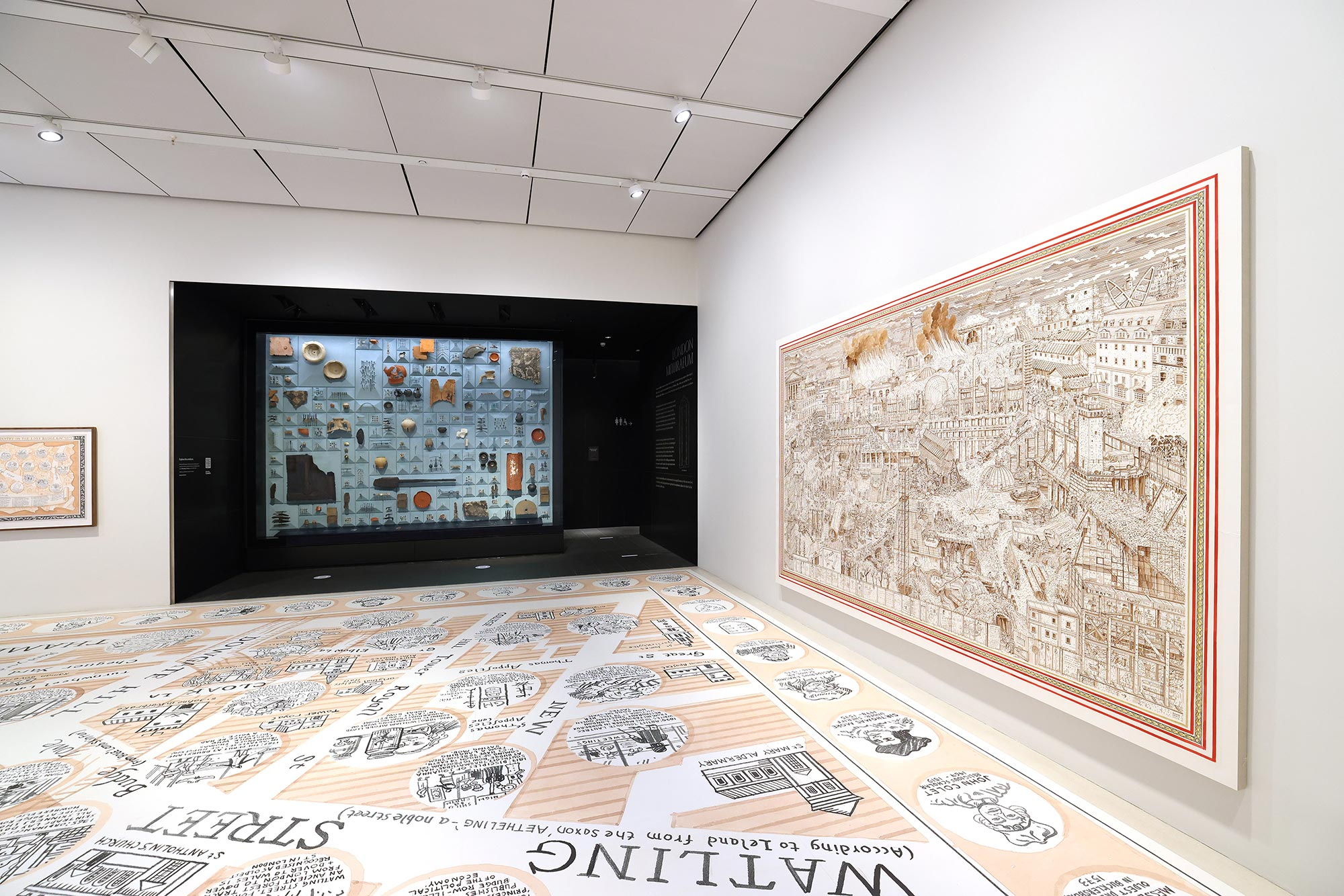 A large Adam Dant art piece at Bloomberg Space London Mithraeum shows an aged townscape.