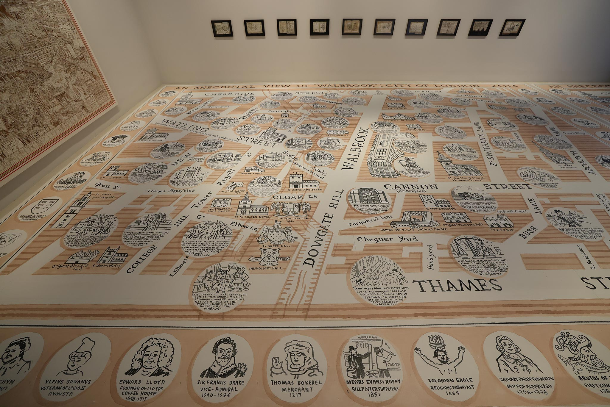 The floor of the Adam Dant exhibit at Bloomberg SPACE at London Mithraeum is a large art piece from Dant, mapping London alongside the Thames.
