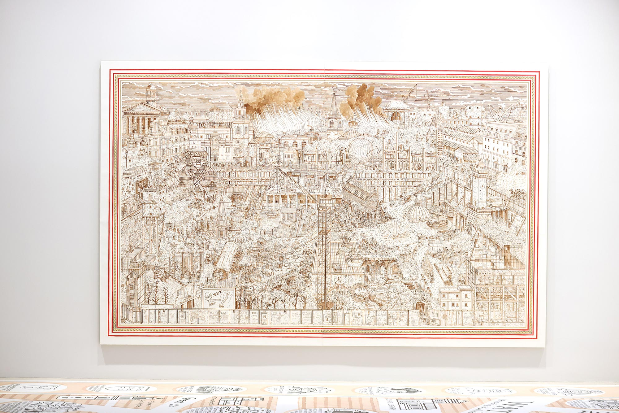 A large wall-filling town scape created by artist Adam Dant being featured at Bloomberg SPACE at the London Mithraeum Museum.
