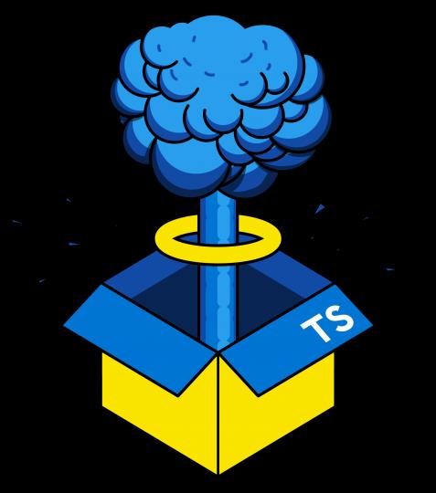 A JavaScript box exploding to reveal TypeScript inside.