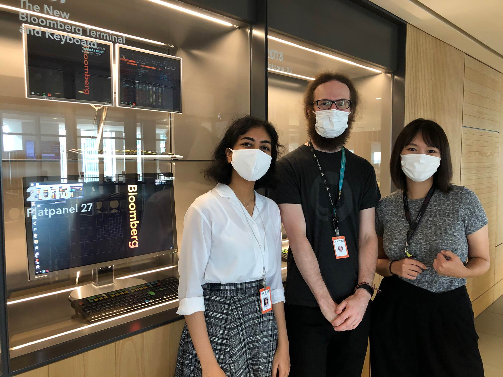 Photo of Shreya, her mentor Ondrej, and her manager Songwei