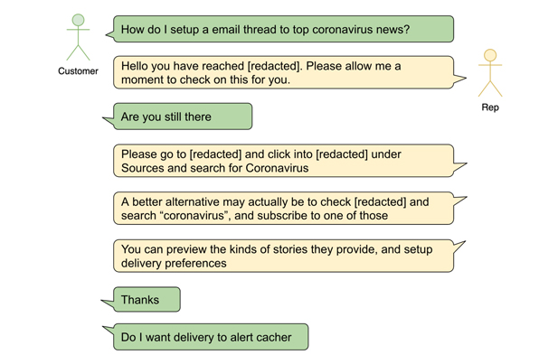 Sample multi-turn question-answering live chat