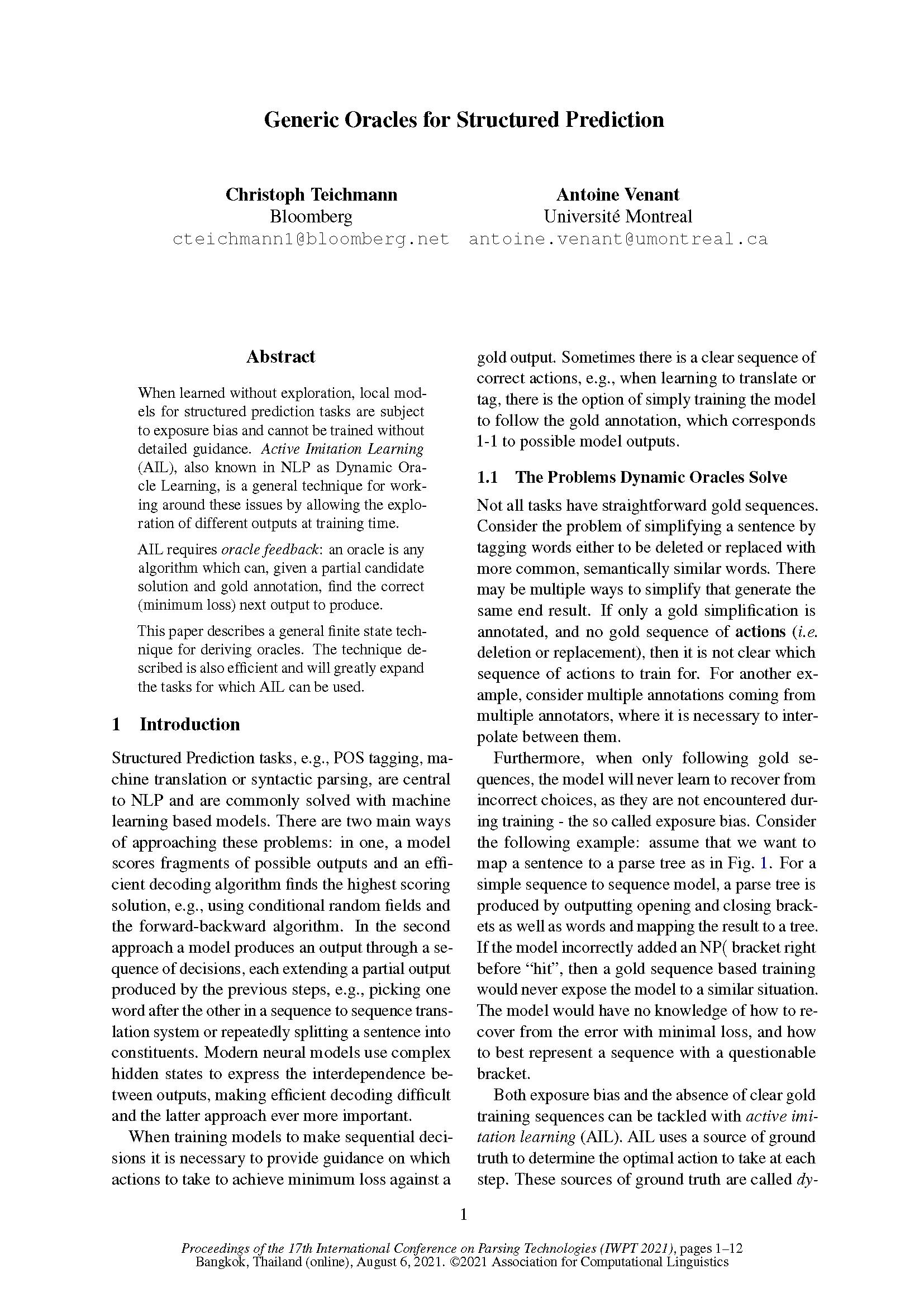 """点击此处阅读2021年8月6日在IWPT 2021上发布的""""结构化预测的通用预言"""""""