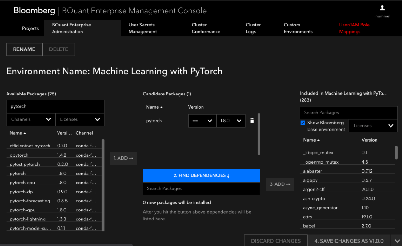 BQuant Enterprise allows you to create custom environments across users.