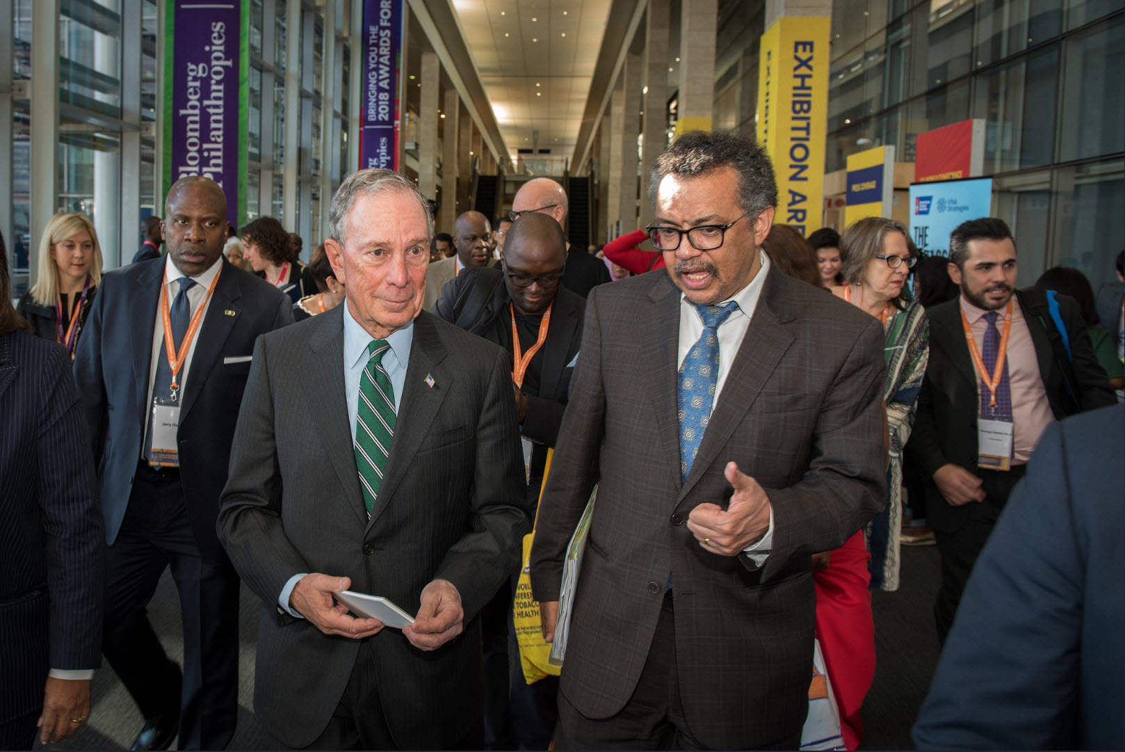 Mike Bloomberg and World Health Organization Director-General Dr. Tedros Adhanom Ghebreyesus