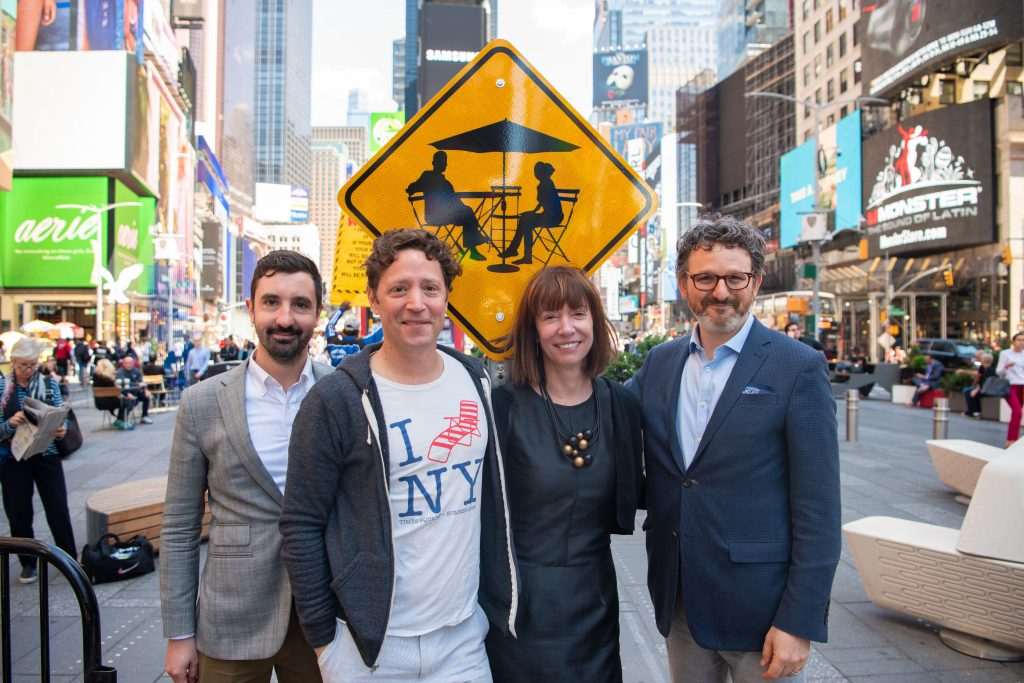 (L-R) Nick Mosquera, Seth Solomonow, Janette Sadik-Khan and Andy Wiley-Schwartz; the Bloomberg Associates Transportation Team at the 10th Anniversary of the creation of the Times Square Plaza in June, 2019.