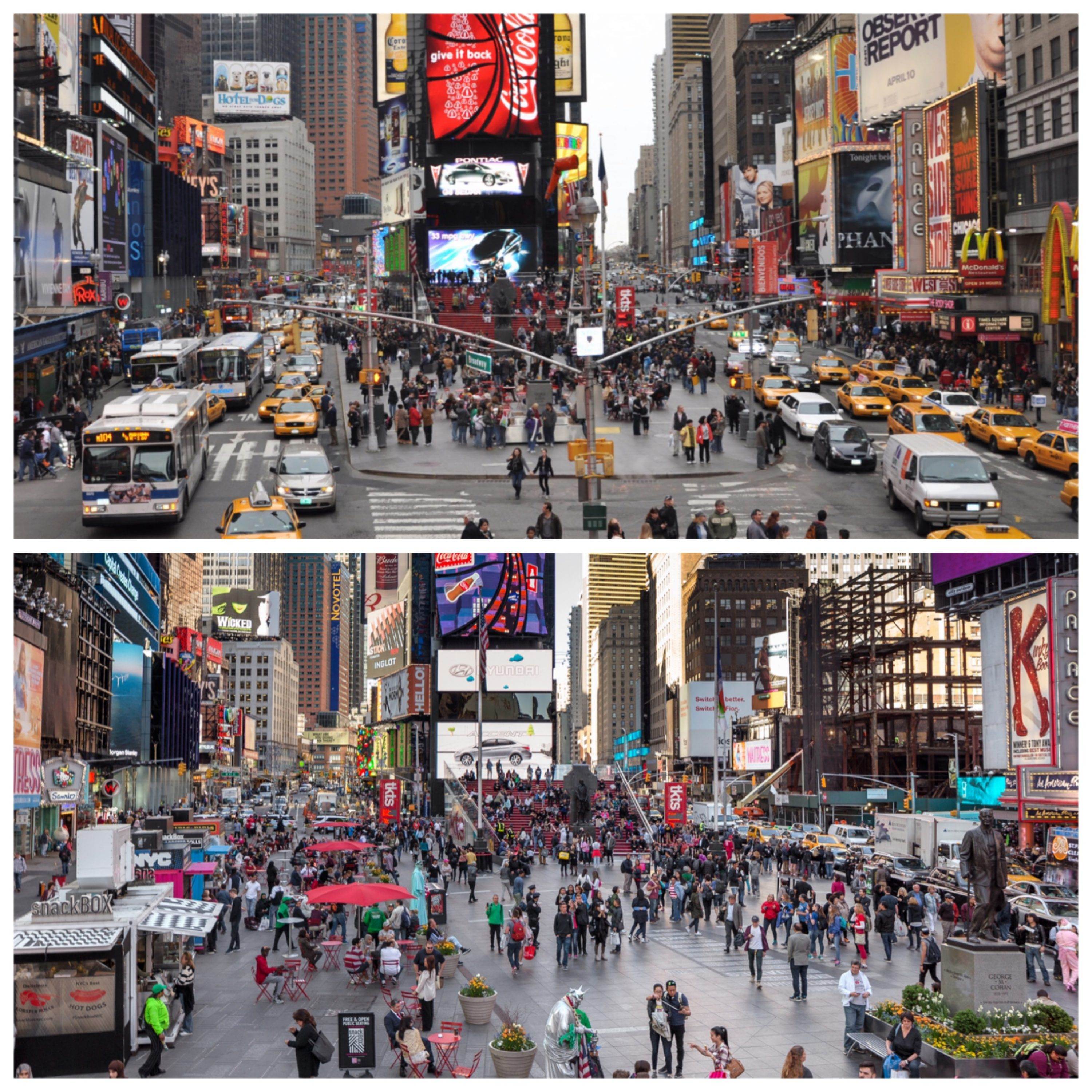 Broadway in Times Square before the redesign (2006) and after (2018).