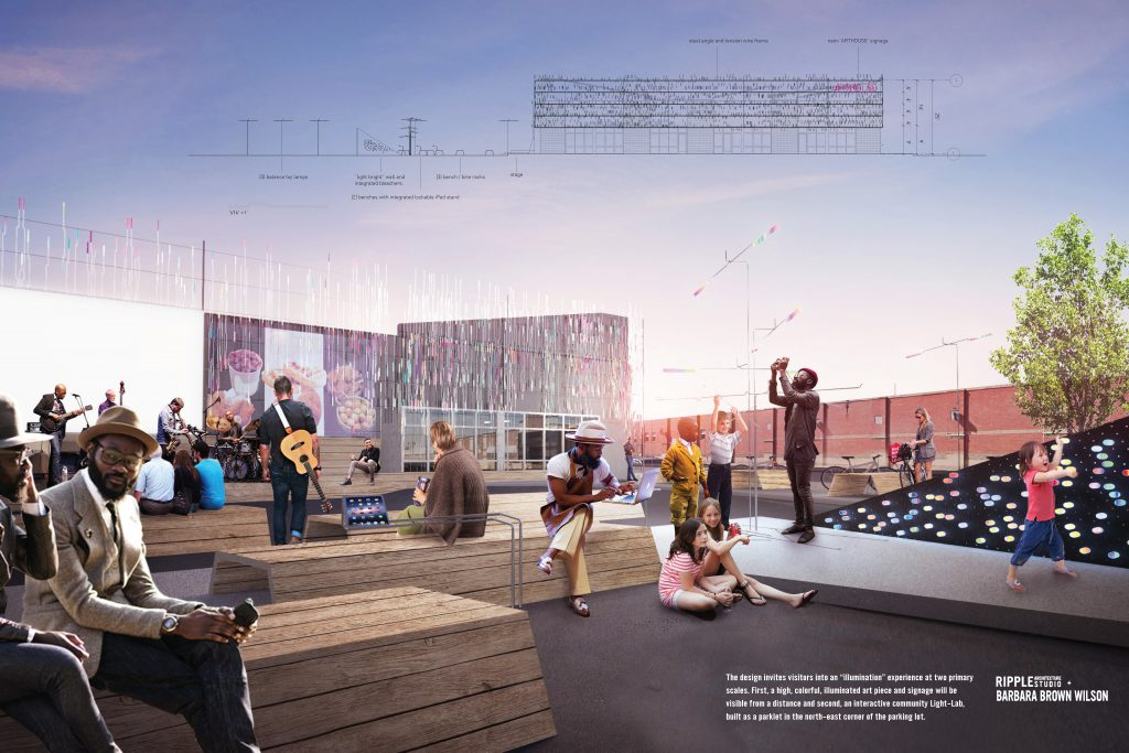 Ripple + Wilson's design for an outdoor public art piece at ArtHouse: A Social Kitchen in downtown Gary is shown.