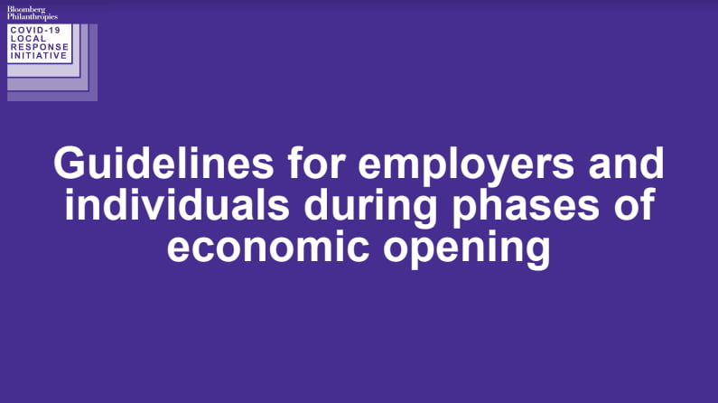 Guidenlines for employers and individuals during phases of economic opening