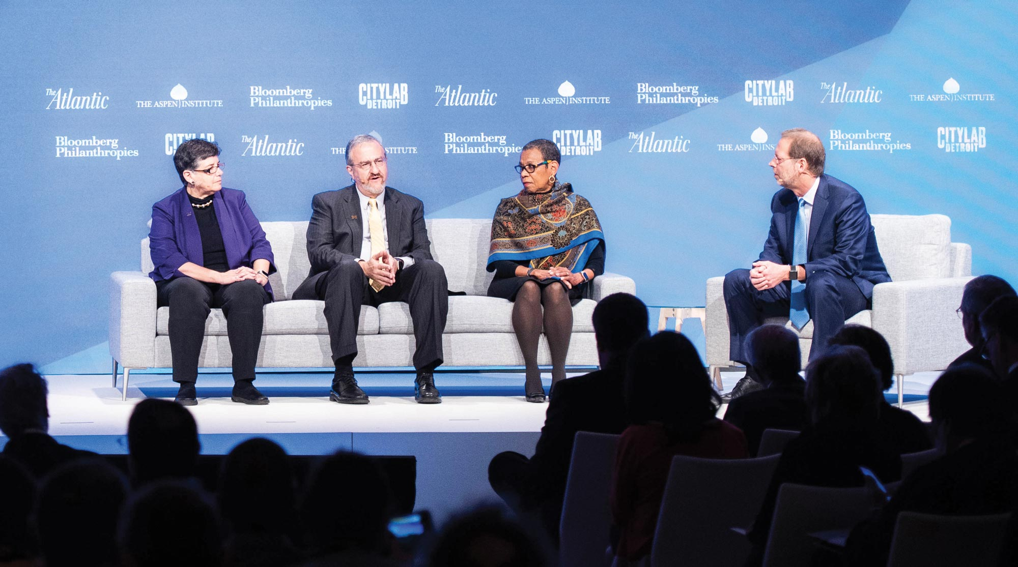 (Right to left) Daniel Porterfield, President and CEO of the Aspen Institute, moderates a panel discussion on college access with Spelman College President Mary Schmidt Campbell, University of Michigan President Mark Schlissel, and University of Washington President Ana Mari Cauce.