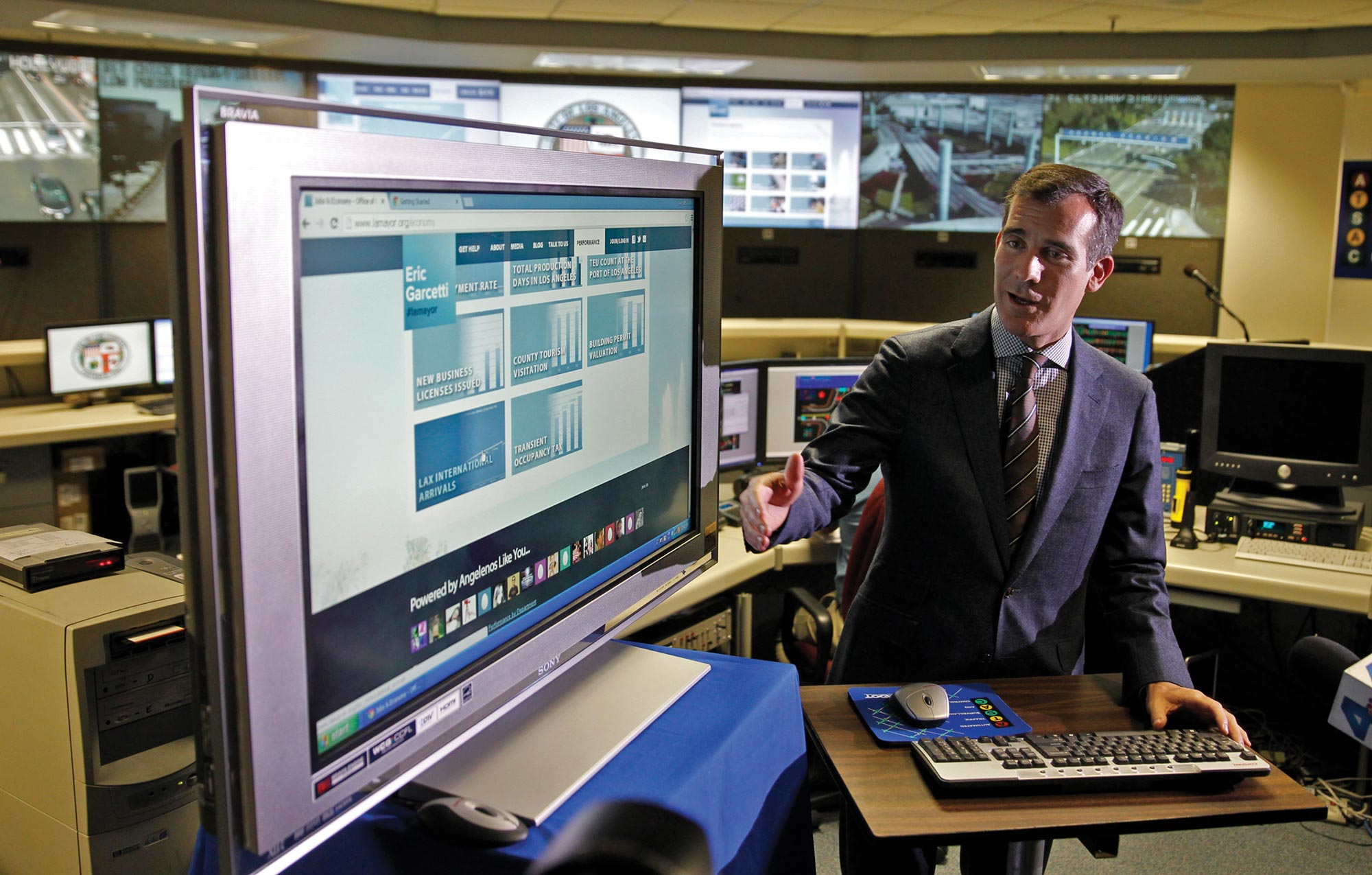 Mayor Eric Garcetti of Los Angeles, California, unveils a city website with detailed information on street repairs, ambulance response times, and other city services.