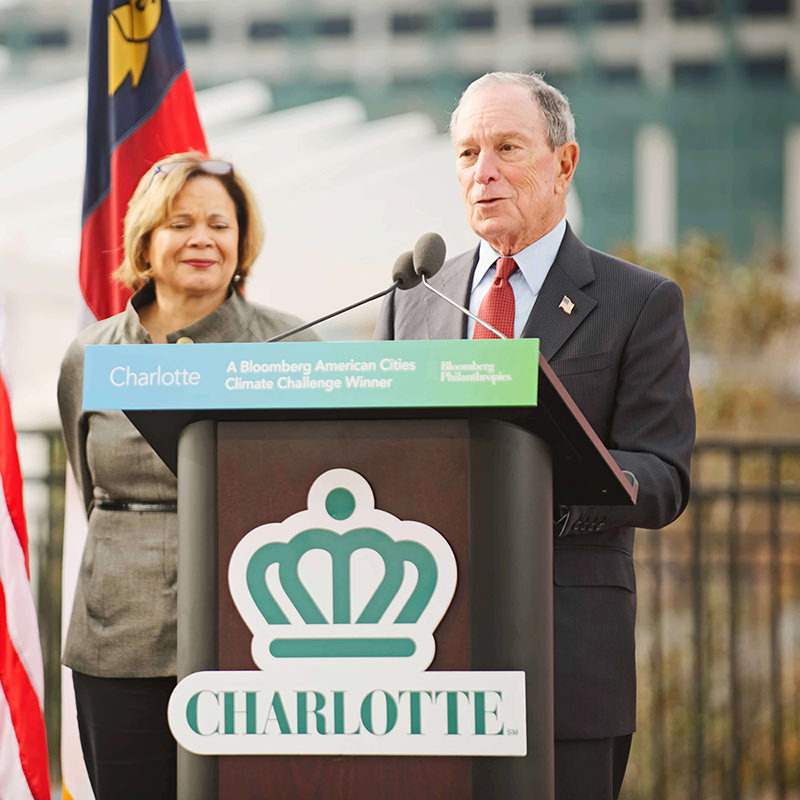 Mayor Vi Lyles of Charlotte, North Carolina, and Mike Bloomberg announcing that the city was selected as one of the 25 American Cities Climate Challenge winners.