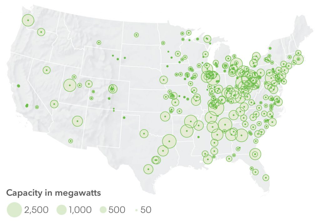 A map showing Coal plant retirements in the U.S., including capacity