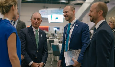 Mike Bloomberg and Peter Prato at the Global Climate Action Summit
