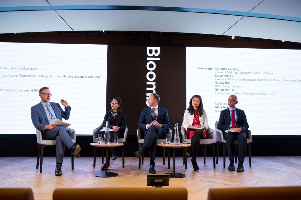 Mark Austen, CEO, ASIFMA moderates a panel on China's capital markets and recent index inclusion with Christina ZY Yang, London Chief Rep., Shanghai Stock Exchange; Susan Xin Yu, Executive Director China Access, Transaction Banking Securities Service, Standard Chartered; Sanjay Rao, Bloomberg Barclays; and Simon Derrick, Global Head of Asset Manager Coverage, HSBC