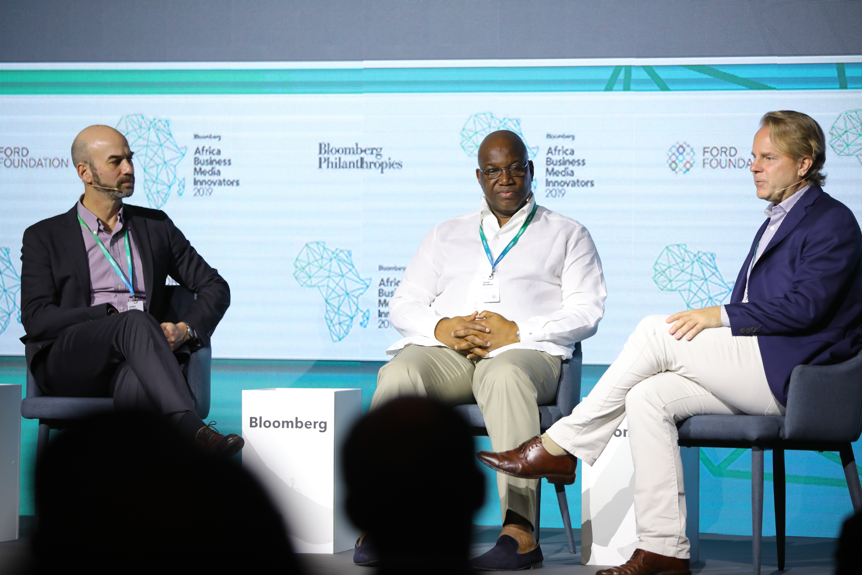 James Bennet, Editorial Page Editor, the New York Times; John Momoh, Chairman and CEO, Channels TV; and Justin B. Smith, CEO, Bloomberg Media