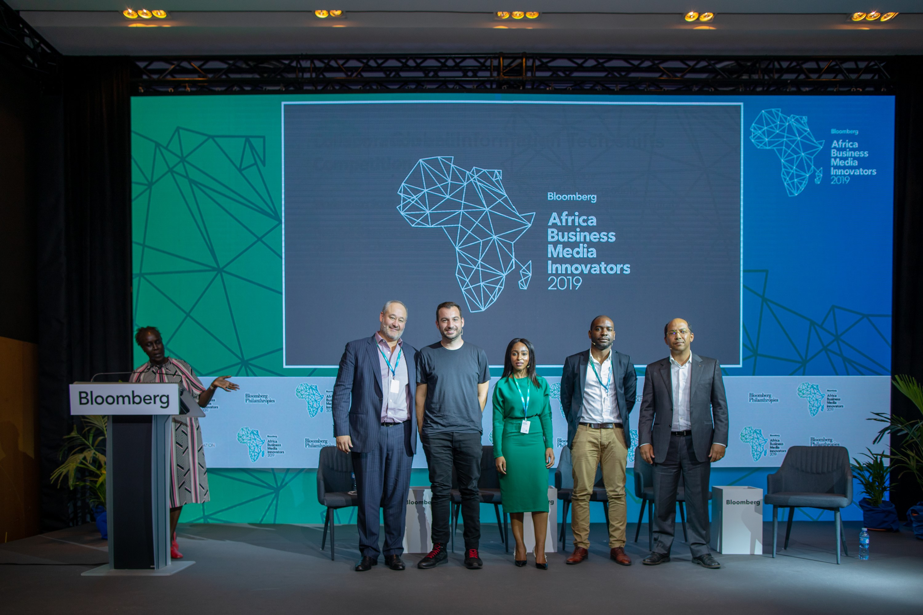 Scott Havens, Head of Digital, Bloomberg Media; Jarrod Dicker, Vice President, Commercial, The Washington Post; Thabile Ngwato,CEO, Newzroom Afrika; Yves Biyah, Deputy CEO, Jeune Afrique; and Nicholas Pompigne-Mognard