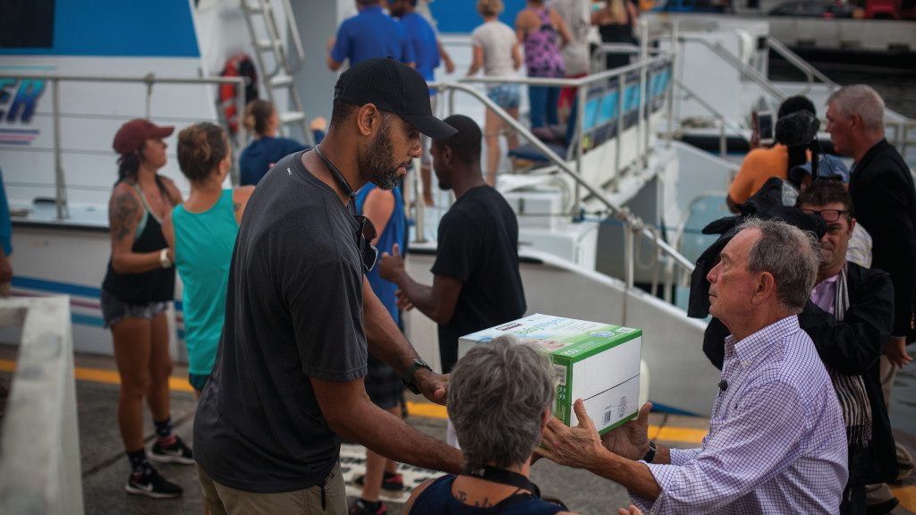 Photo of Mike delivering emergency aid to Virgin Islands.