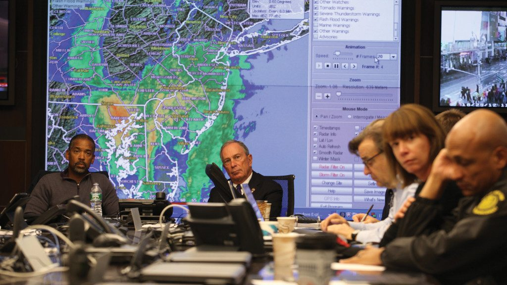 Photo of a senior staff meeting at New York City's Office of Emergency Management as Hurricane Sandy approaches.