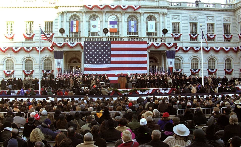 Mike Bloomberg is inaugurated as New York City's 108th Mayor on January 1, 2002