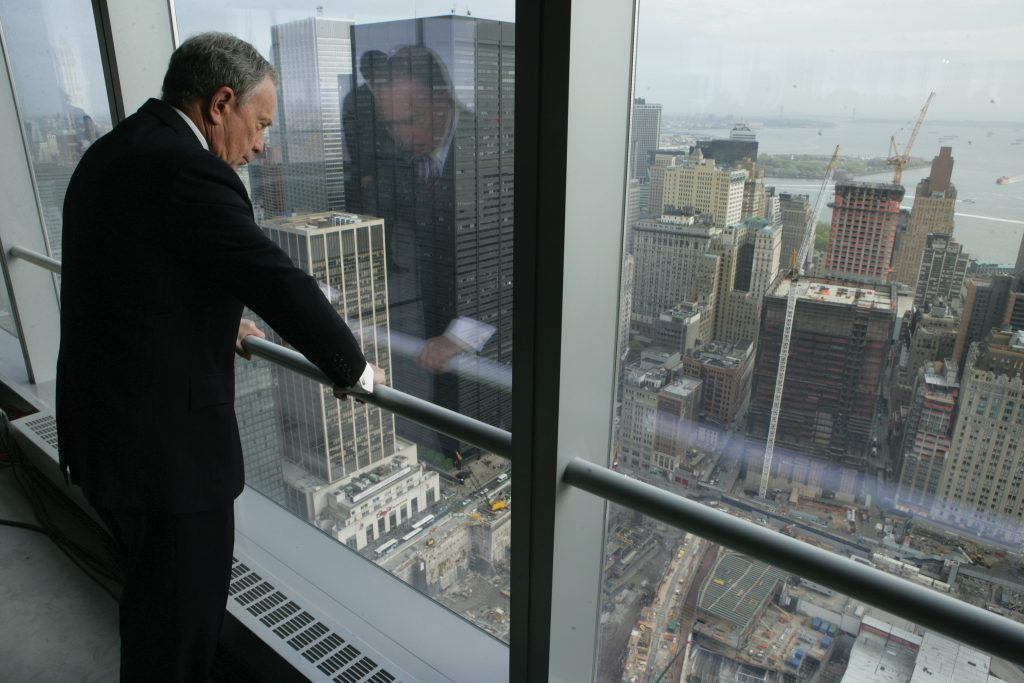 Mike Bloomberg looks down at the World Trade Center site