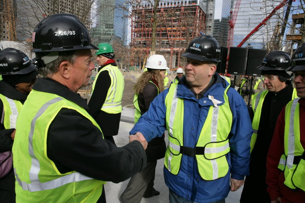 Mike Bloomberg visiting workers at Ground Zero
