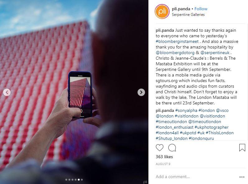 Instagram post by @pli.panda from the Bloomberg Philanthropies & Serpentine Gallery Instameet on August 9, 2018.