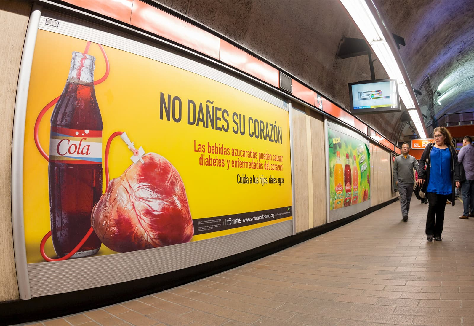 Billboards in Mexico highlighting the health risks of sugary beverages as part of an obesity prevention campaign led by local partners.