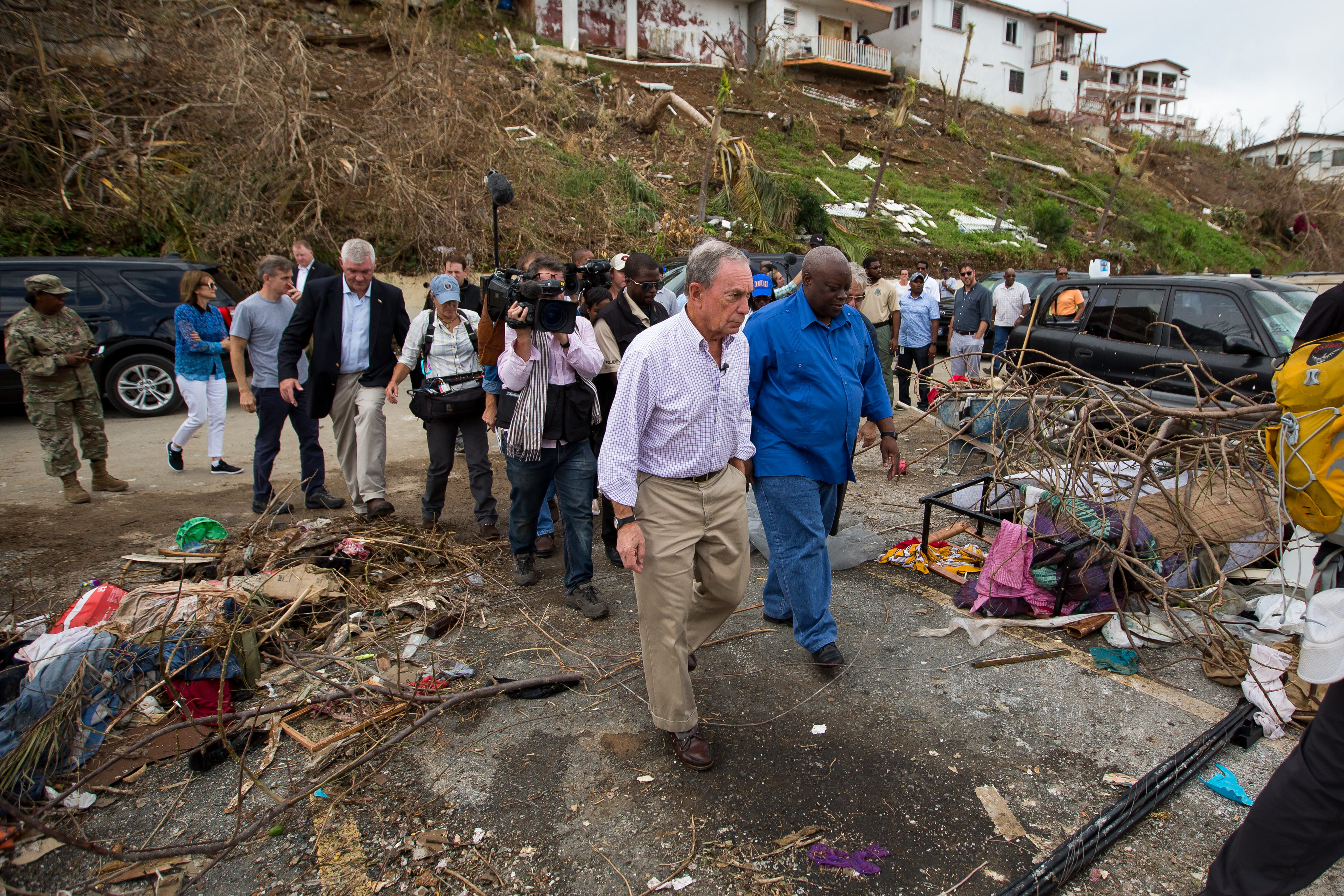 Mike Bloomberg tours the aftermath of Hurricanes Maria and Irma in the U.S .Virgin Islands with Governor Mapp.