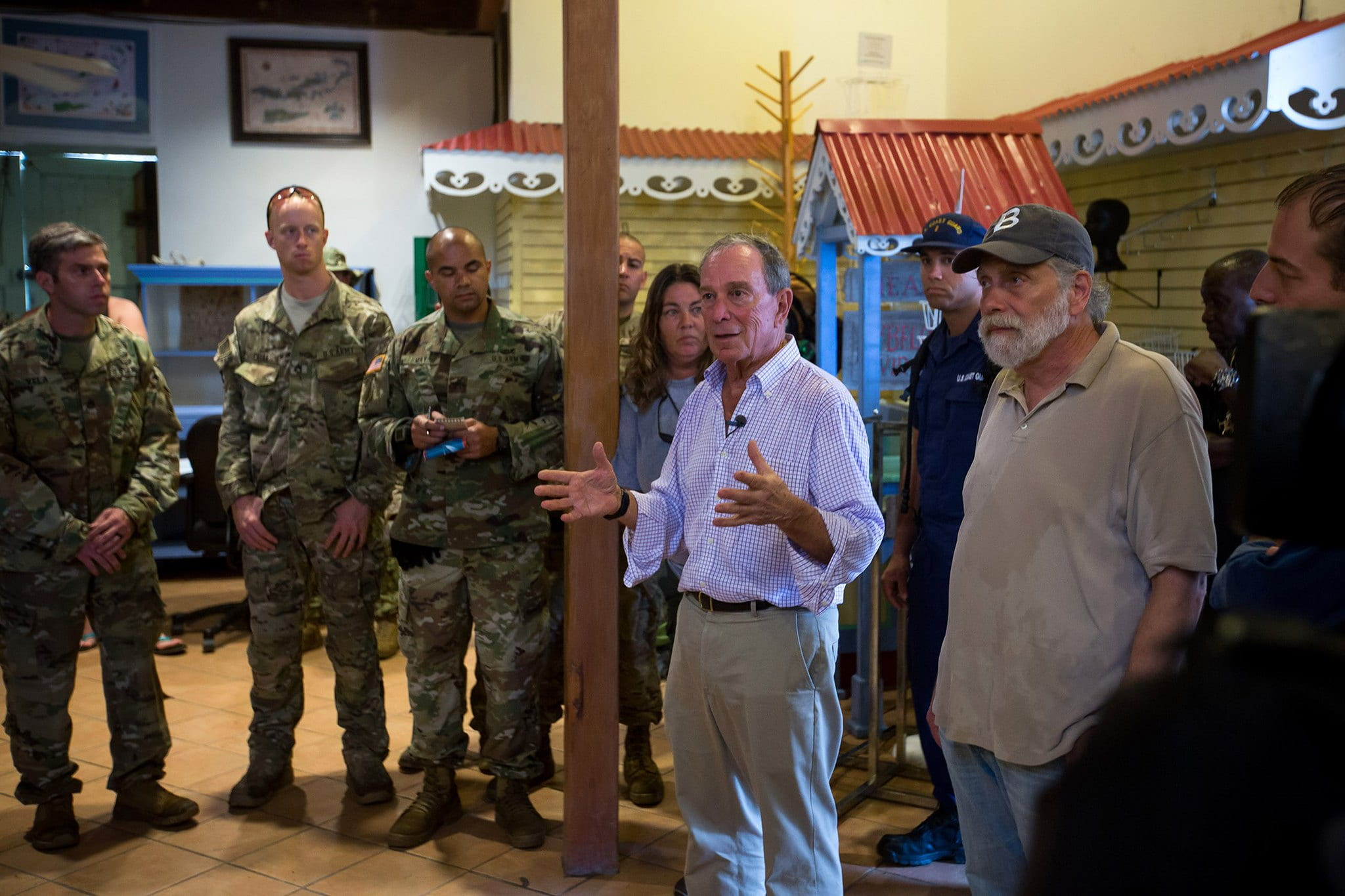 Mike Bloomberg speaks with local residents and troops in the U.S. Virgin Islands following Hurricanes Maria and Irma.