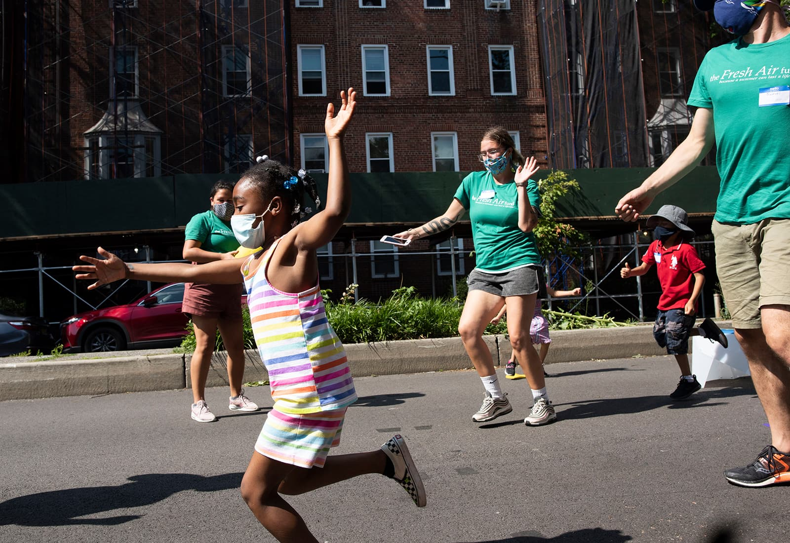 A young girl plays at a Fresh Air Fund Summer Space event in Jackson Heights, New York.