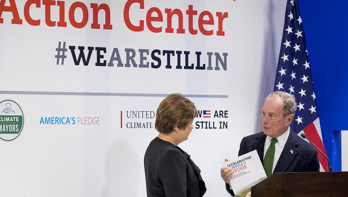 Mike Bloomberg joins executive secretary of the United Nations Framework Convention on Climate Change, Patricia Espinosa, during COP25 in Madrid, Dec. 2019.