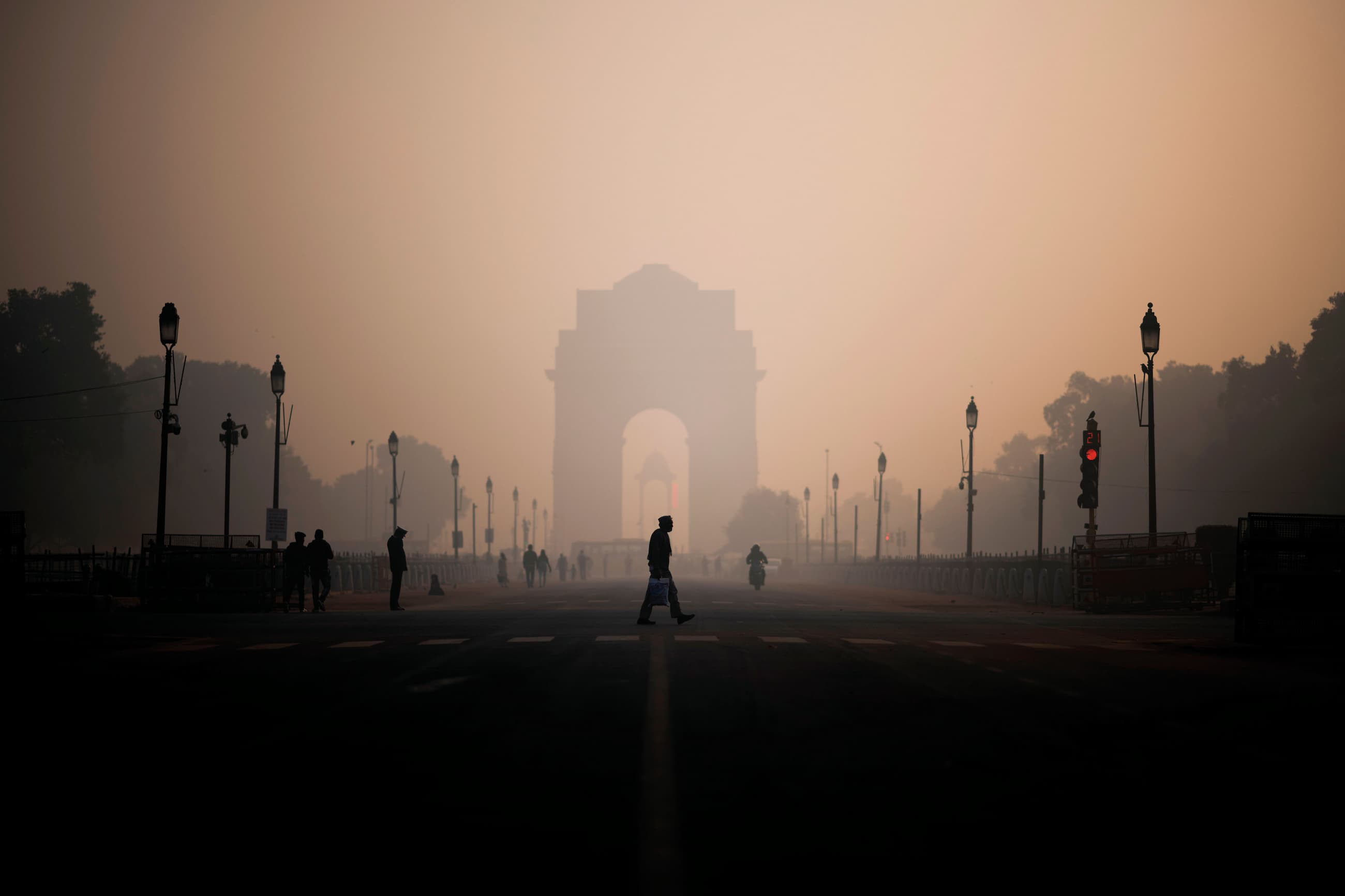 Heavy smog conditions at the India Gate, New Delhi, India, on December 6, 2019.