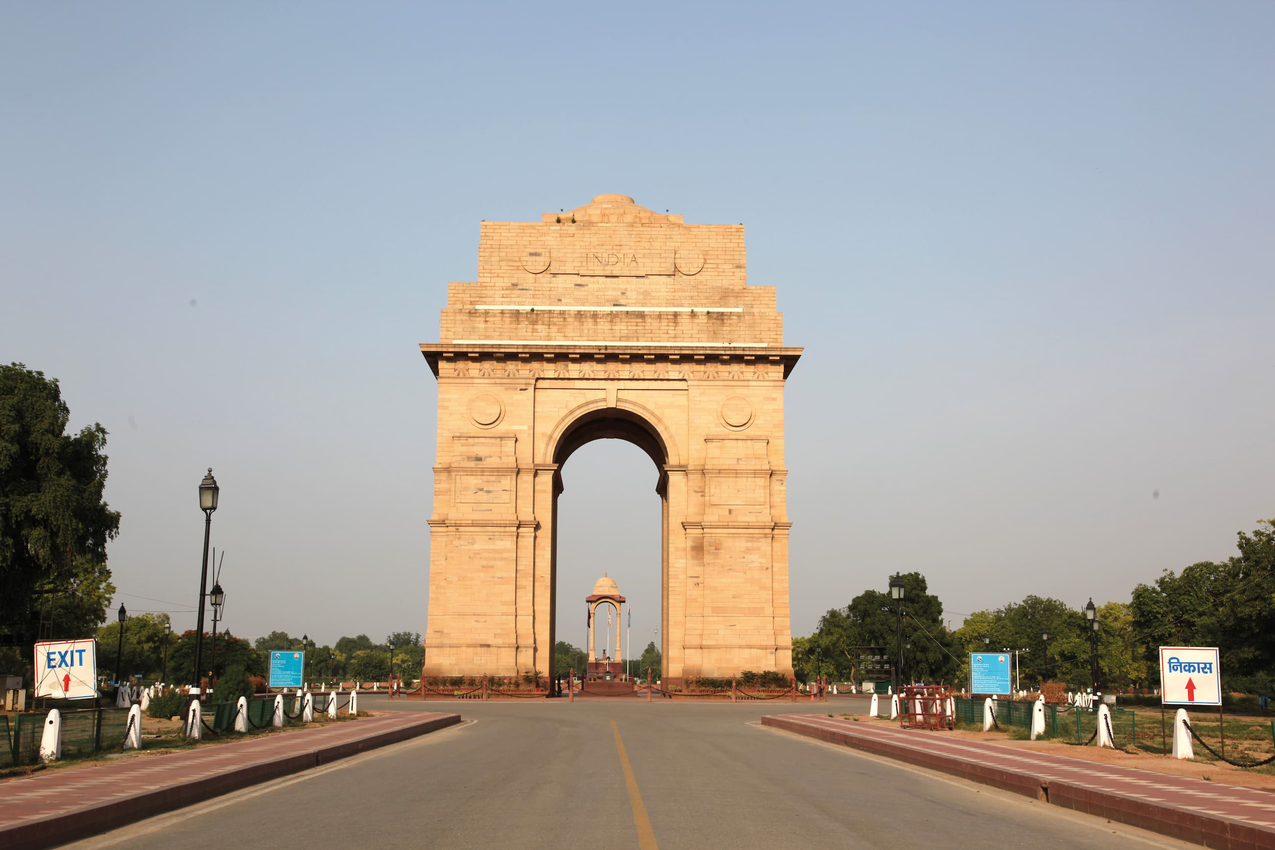 The view of the India Gate on June 11, 2020, following a period of lockdown due to the pandemic shows cleaner air with less smog.