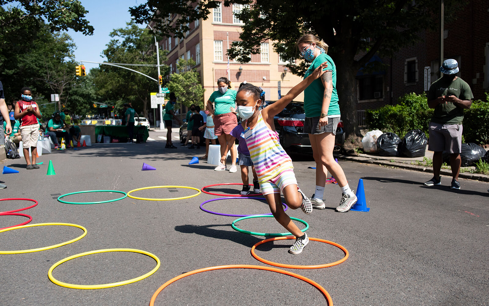 Kids safely playing at the Fresh Air Funds site in Jackson Heights, New York.