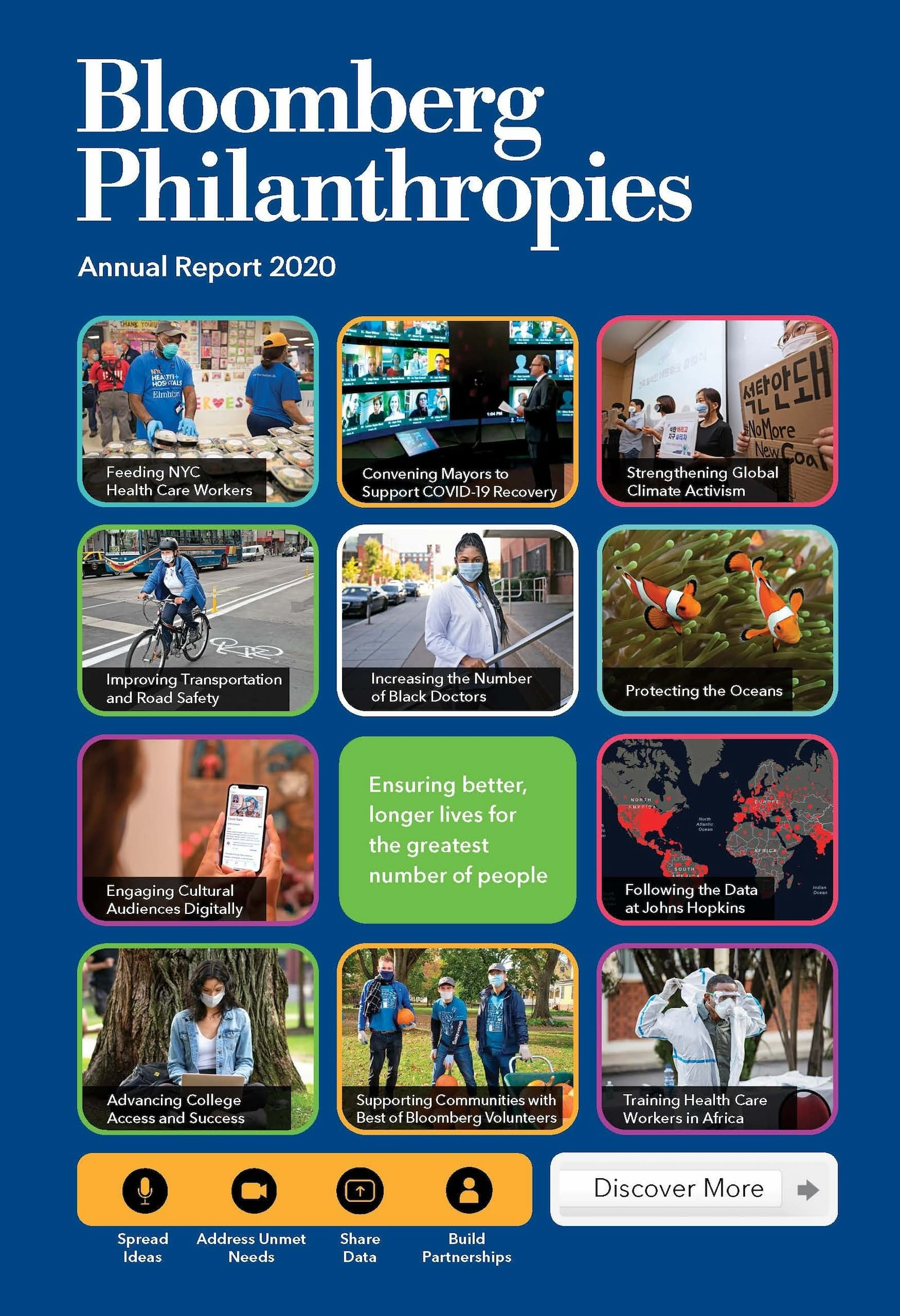 The cover of the 2020 Bloomberg Philanthropies Annual Report.