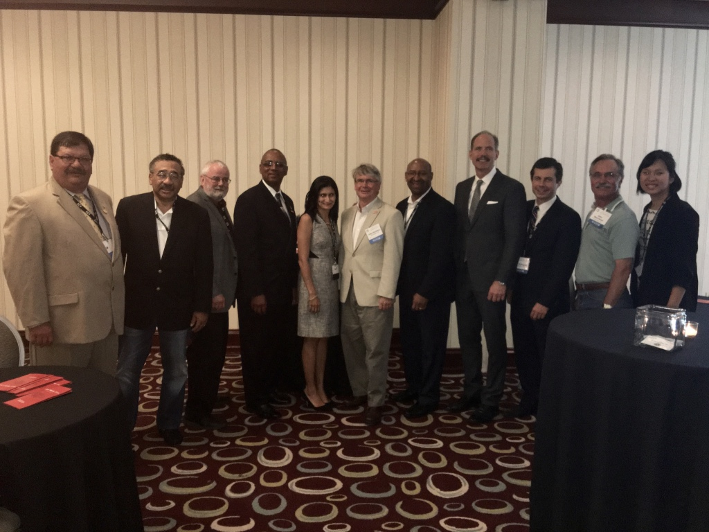 (Left-right) Mayor of Hanover Park, Illinois, Rodney S. Craig; former Mayor of Tallahassee, Tennessee, John R. Marks, III; Mayor of Hoffman Estates, Illinois, William D. McLeod; Mayor of North Chicago, Illinois, Leon Rockingham, Jr.; WWC Executive Director Simone Brody; Mayor of Bloomington, Indiana, John Hamilton; former Mayor of Philadelphia and WWC Senior Fellow Michael Nutter; Mayor of Albuquerque, New Mexico, Richard J. Berry; Mayor of South Bend, Indiana, Pete Buttigieg; Mayor of Livermore, California, John P. Marchand; and WWC Associate Director Jennifer Park