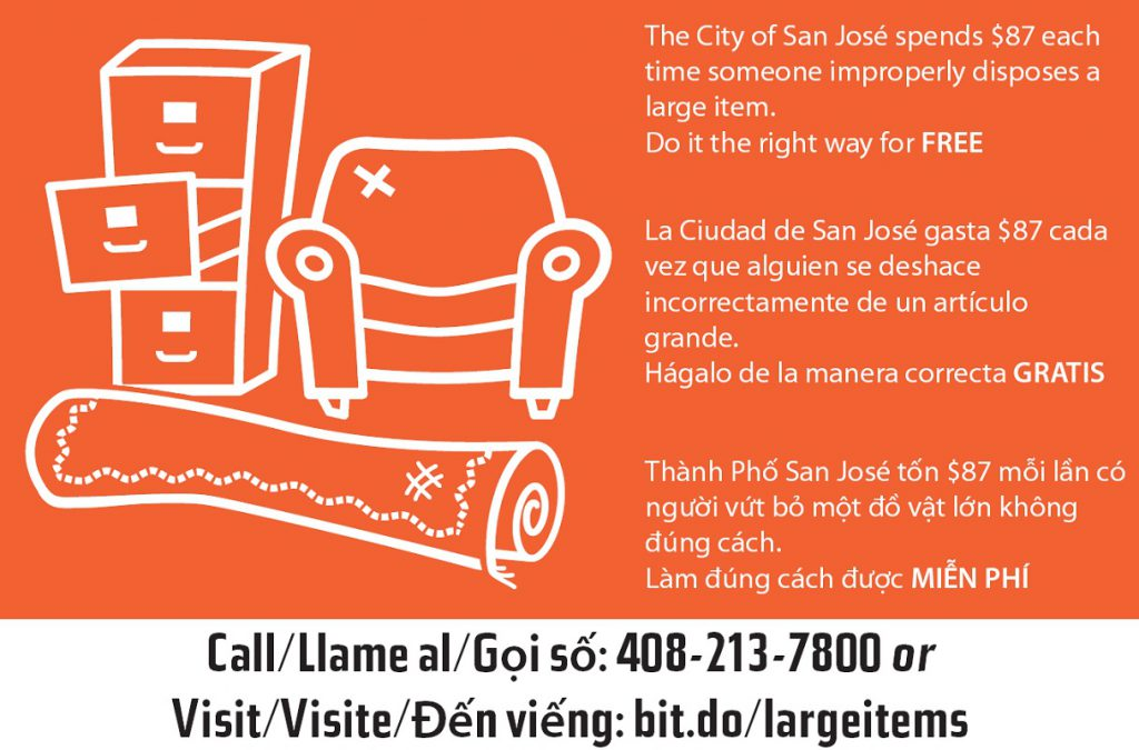 A postcard from the city of San Jose encourages residents to dump their large junk items the right way