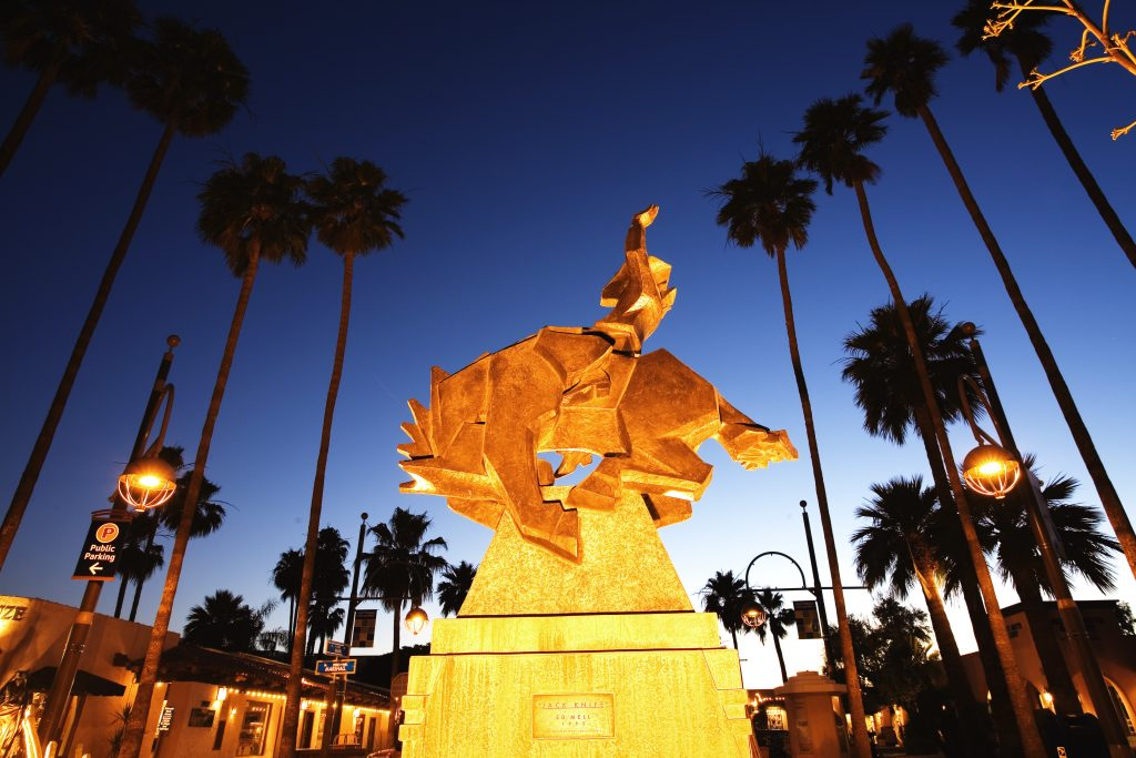 Photograph of a landmark in Scottsdale, Arizona, at dusk