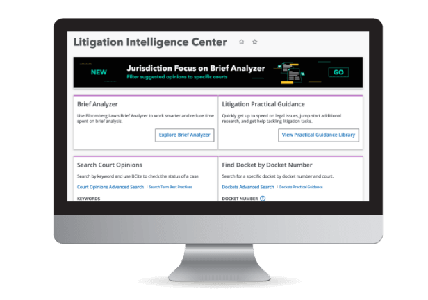 Litigation Intelligence Center product screenshot